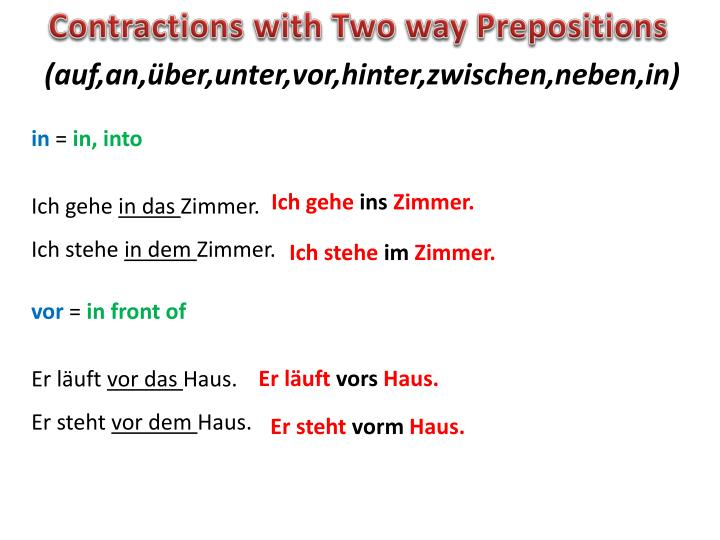 Contractions with Two way Prepositions