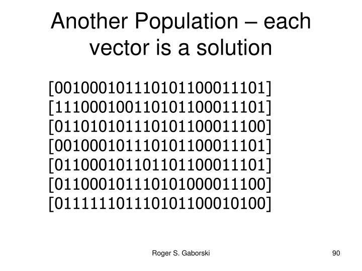 Another Population – each vector is a solution