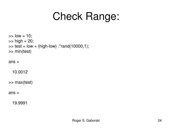 Check Range: