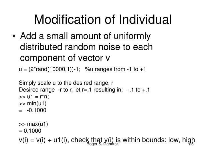 Modification of Individual