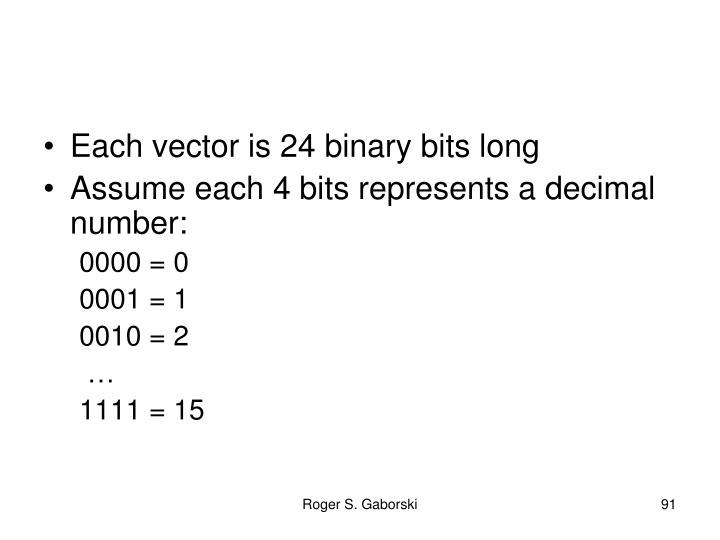 Each vector is 24 binary bits long