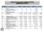 avance presupuestal anal tico al 30 de septiembre de 20132