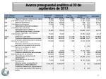 avance presupuestal anal tico al 30 de septiembre de 20133