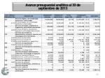 avance presupuestal anal tico al 30 de septiembre de 20139