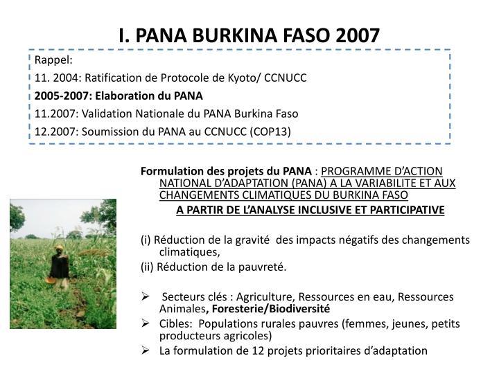 I. PANA BURKINA FASO 2007