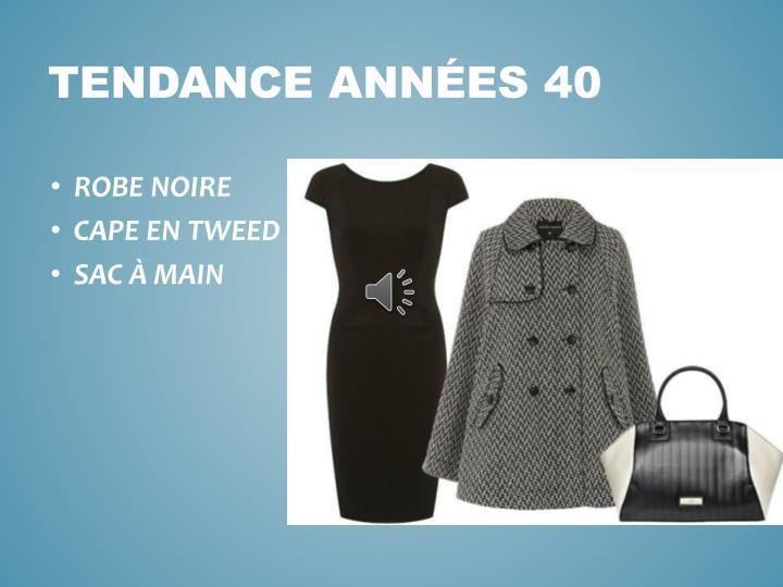TENDANCE ANNÉES 40