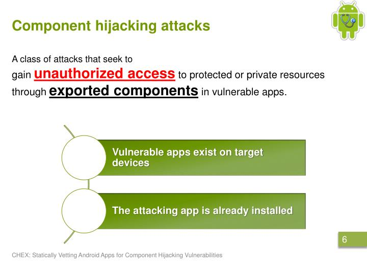 Component hijacking attacks