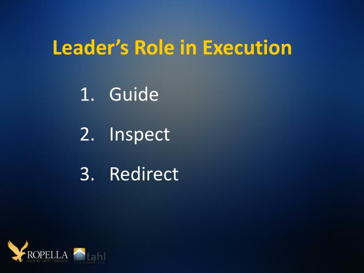 Leader's Role in Execution