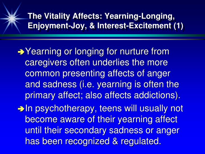 The Vitality Affects: Yearning-Longing, Enjoyment-Joy, & Interest-Excitement (1)