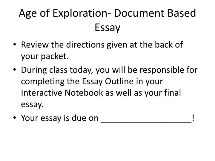 Age of Exploration- Document Based Essay