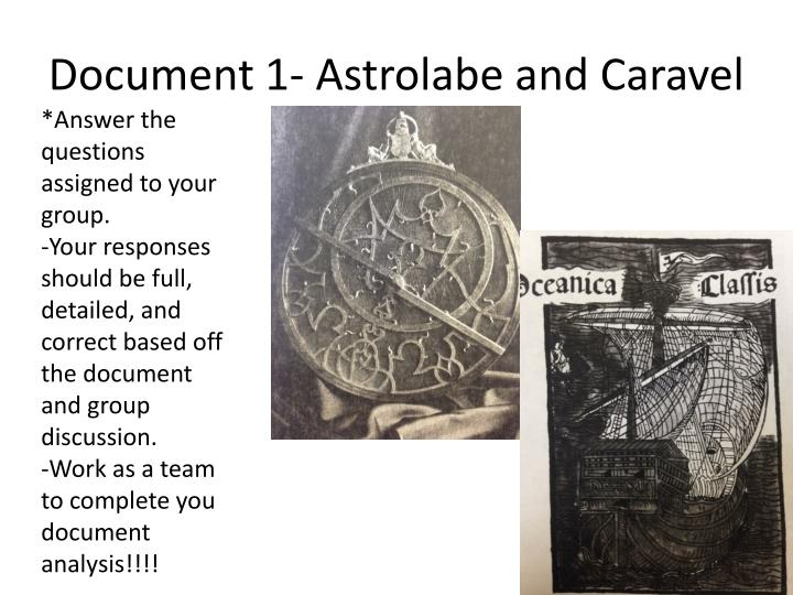 Document 1- Astrolabe and Caravel