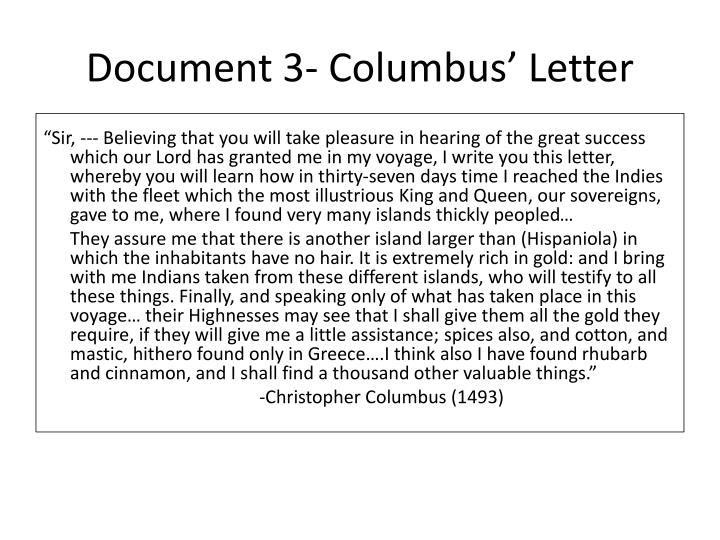 Document 3- Columbus' Letter