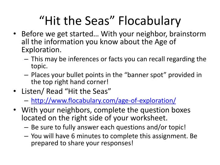 Hit the seas flocabulary