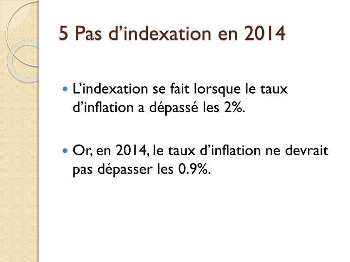 5 Pas d'indexation en 2014