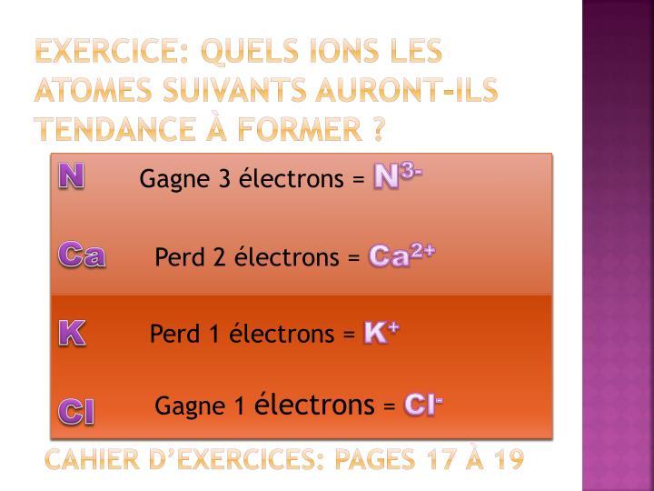 Exercice: quels ions les atomes suivants auront-ils tendance à former ?
