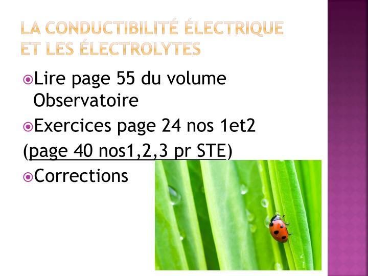 La conductibilité électrique et les électrolytes