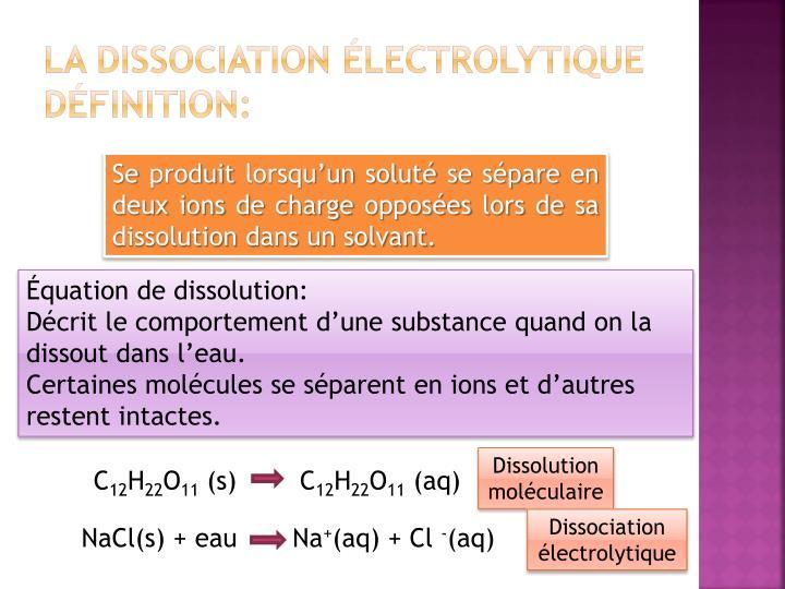 La dissociation électrolytique