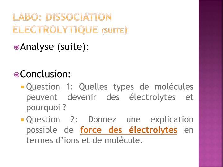 Labo: Dissociation électrolytique
