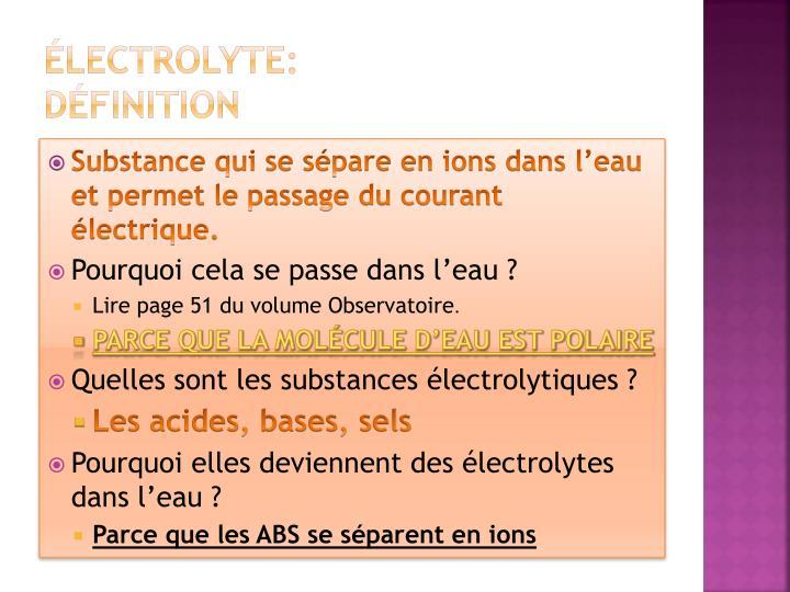 Électrolyte: