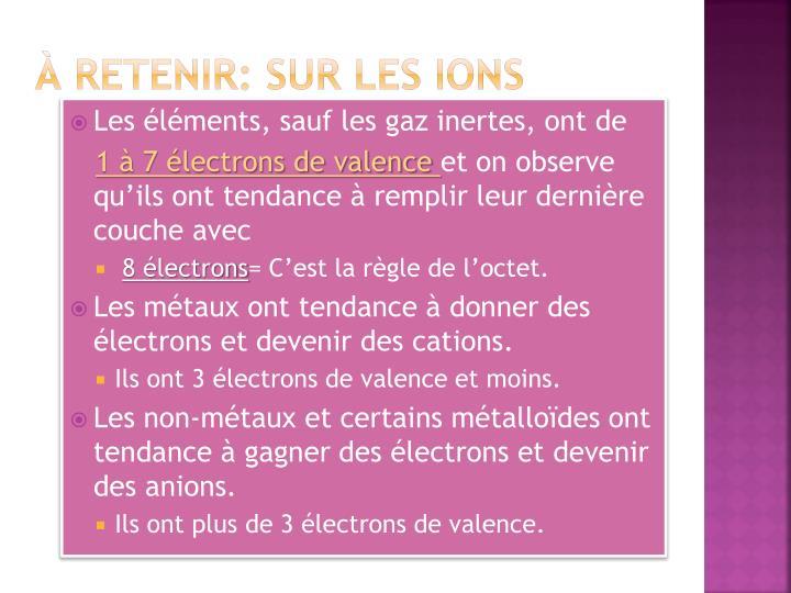 À retenir: sur les ions