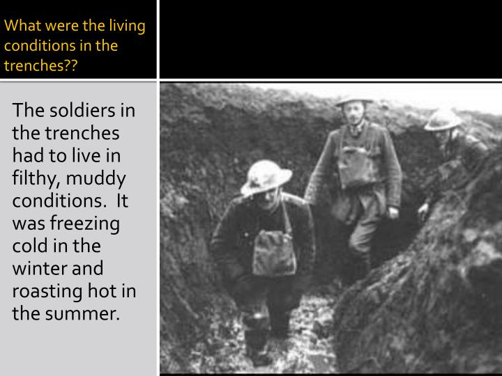 What were the living conditions in the trenches??