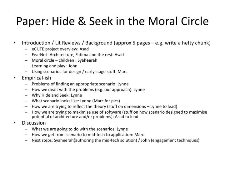 Paper: Hide & Seek in the Moral Circle