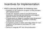 incentives for implementation