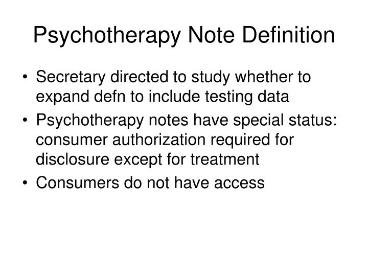 Psychotherapy Note Definition