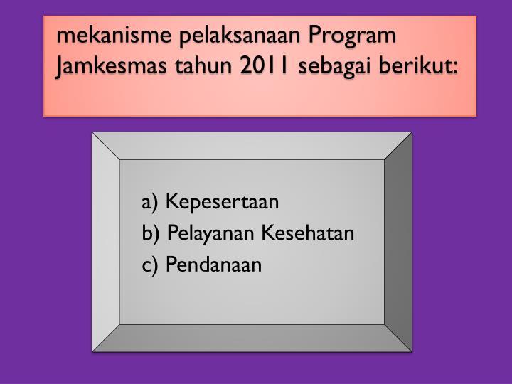 mekanisme pelaksanaan Program Jamkesmas tahun 2011 sebagai berikut: