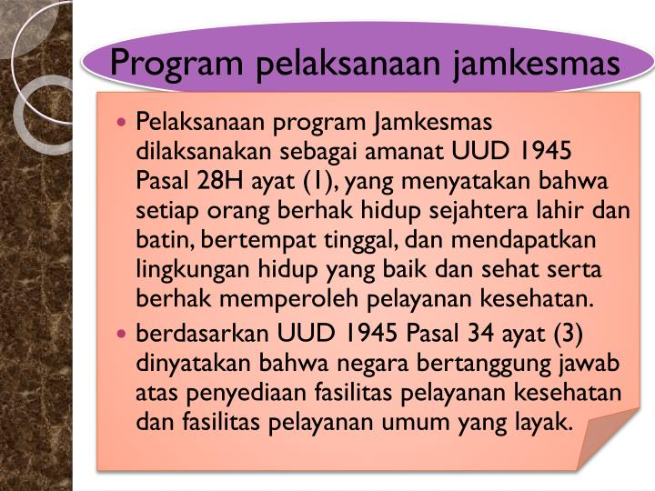 Program pelaksanaan jamkesmas