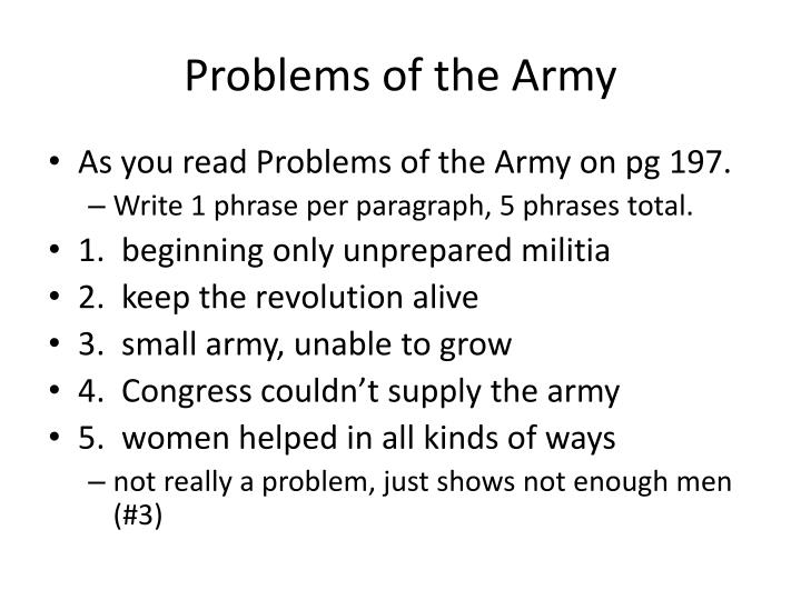 Problems of the army