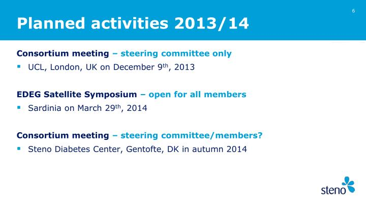 Planned activities 2013/14