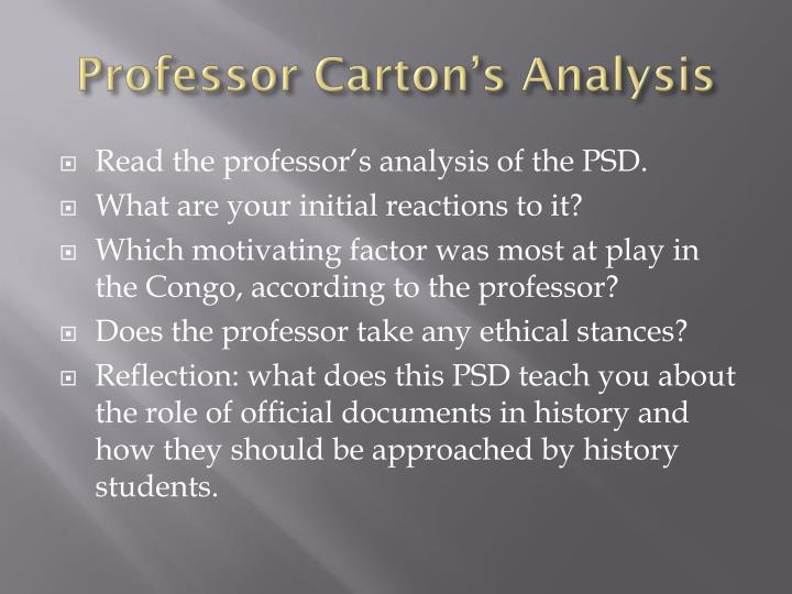 Professor Carton's Analysis