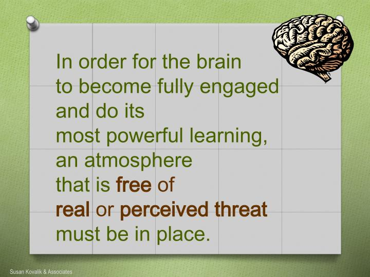 In order for the brain