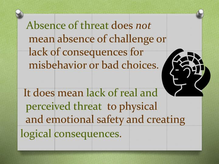 Absence of threat