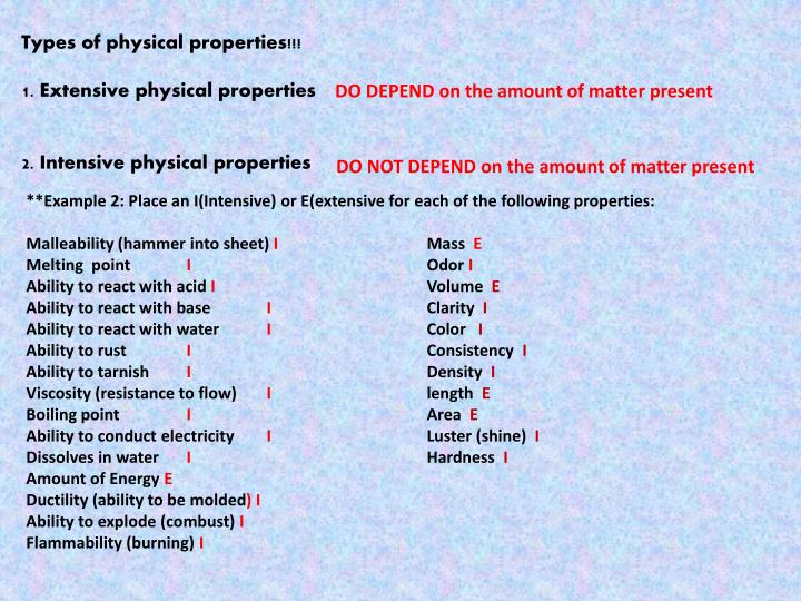 Types of physical properties!!!