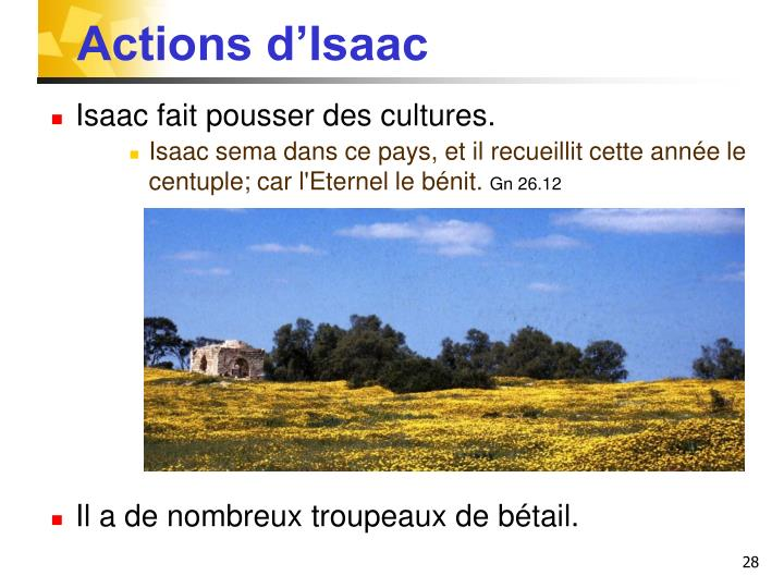 Actions d'Isaac