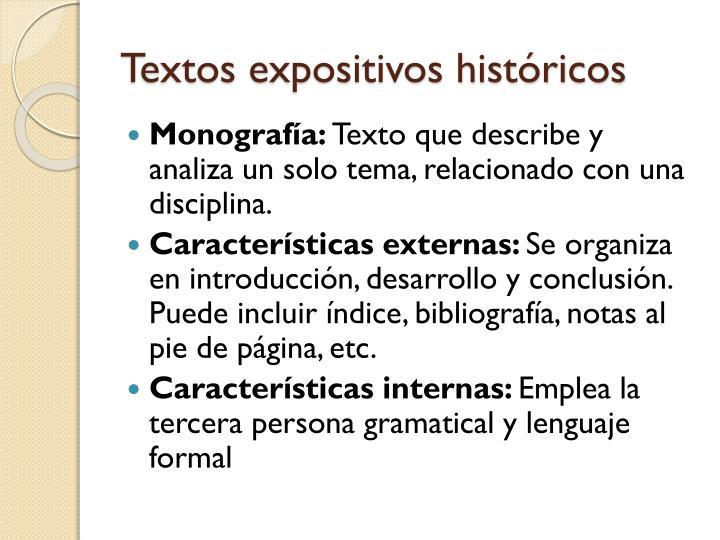 Textos expositivos históricos