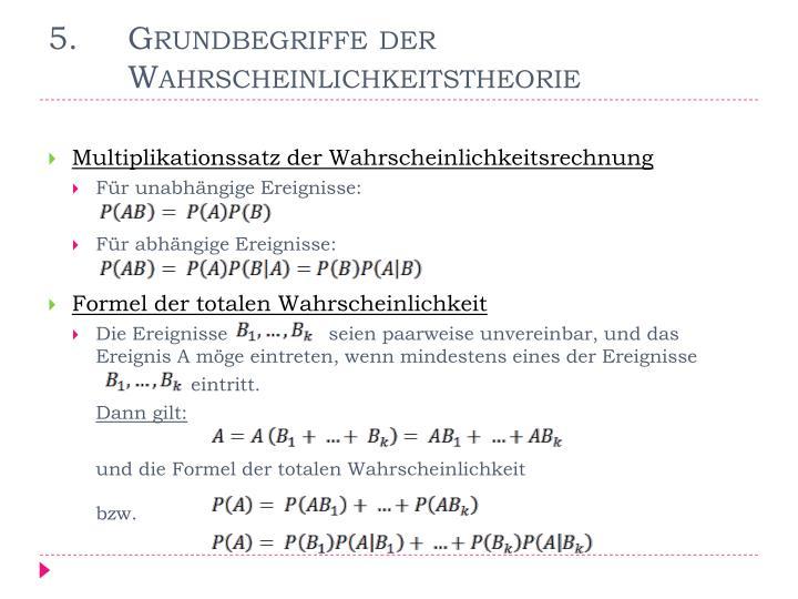 5. Grundbegriffe der Wahrscheinlichkeitstheorie