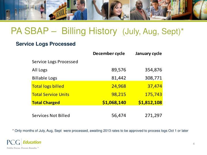 PA SBAP –  Billing History