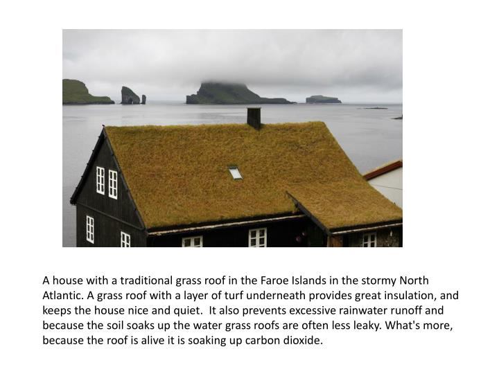 A house with a traditional grass roof in the Faroe Islands in the stormy North Atlantic. A grass roof with a layer of turf underneath provides great insulation, and keeps the house nice and quiet