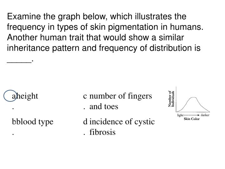 Examine the graph below, which illustrates the frequency in types of skin pigmentation in humans. Another human trait that would show a similar inheritance pattern and frequency of distribution is _____.