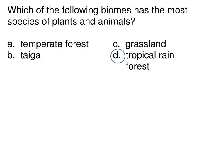 Which of the following biomes has the most species of plants and animals?