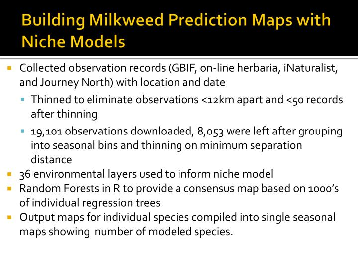 Building Milkweed Prediction Maps with Niche Models