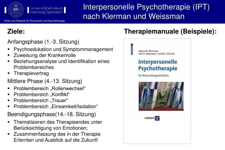 Interpersonelle Psychotherapie (IPT) nach