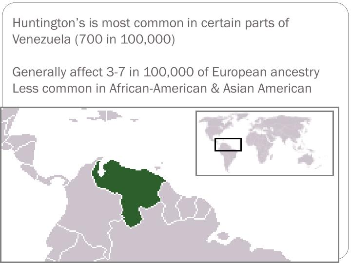 Huntington's is most common in certain parts of Venezuela (700 in 100,000)