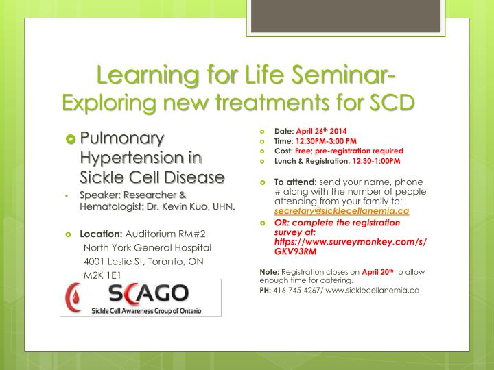 Learning for life seminar exploring new treatments for scd