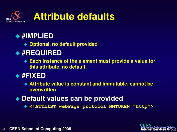 Attribute defaults