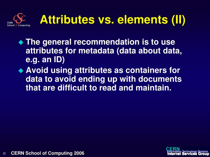 Attributes vs. elements (II)