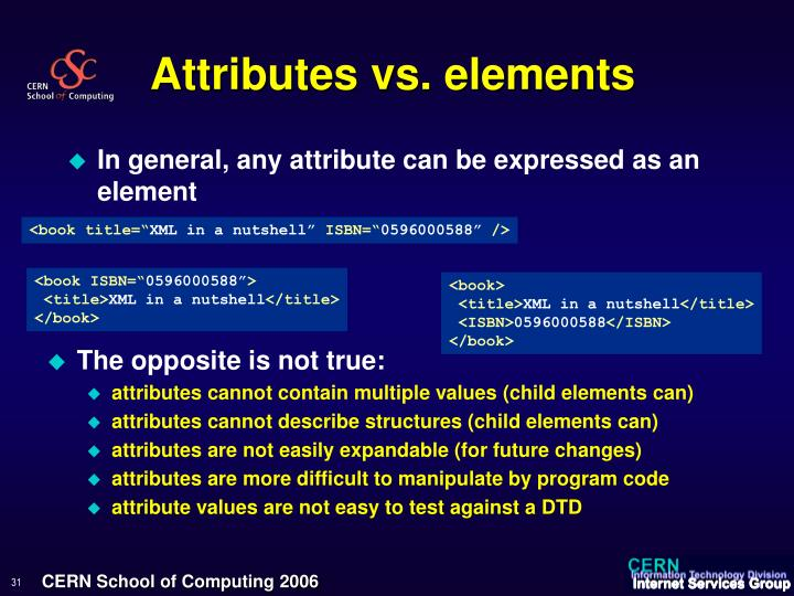 Attributes vs. elements